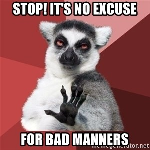 Chill Out Lemur - STOP! IT'S NO EXCUSE FOR BAD MANNERS