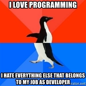 Socially Awesome Awkward Penguin - I love programming I hate everything else that belongs to my job as developer