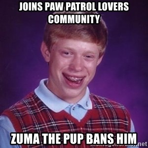 Bad Luck Brian PAW Patrol - Joins PAW patrol lovers community Zuma the pup bans him