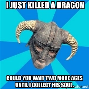 skyrim stan - I just killed a dragon could you wait two more ages until I collect his soul.