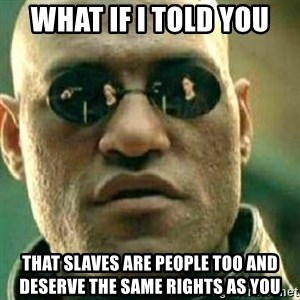 What If I Told You - What if I told you That slaves are people too and deserve the same rights as you