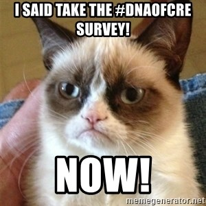 Grumpy Cat  - I said take the #DNAofCRE Survey! Now!
