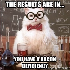 Chemistry Cat - The results are in... You have a Bacon deficiency