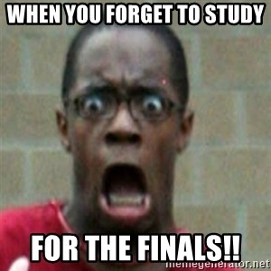 SCARED BLACK MAN - when you forget to study  for the finals!!