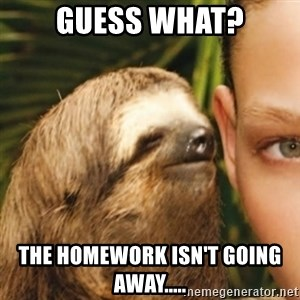 Whispering sloth - Guess what? The homework isn't going away.....