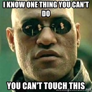what if i told you matri - I know one thing you can't do you can't touch this
