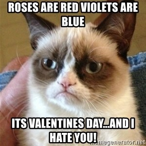 Grumpy Cat  - Roses are Red Violets are Blue Its Valentines Day...and I hate you!