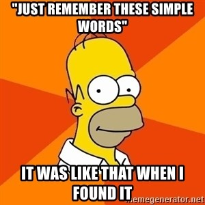 "Homer Advice - ""Just remember these simple words"" It was like that when I found it"