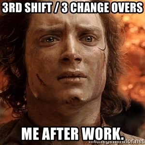 Frodo  - 3rd shift / 3 change overs Me after work.