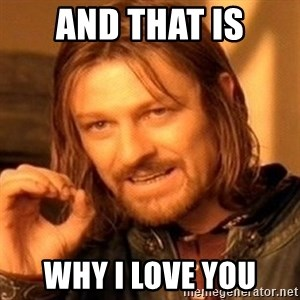 One Does Not Simply - And that is Why i love you