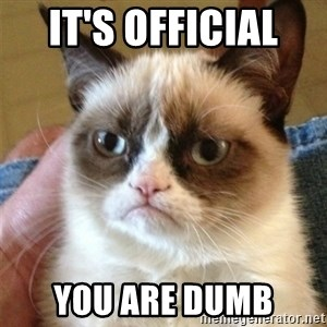 Grumpy Cat  - It's official  You are dumb