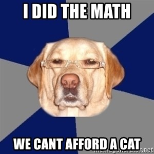 Racist Dawg - I did the Math WE CANT AFFORD A CAT