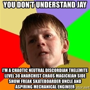 Angry School Boy - You don't understand Jay I'm a chaotic neutral discordian thelemite level 30 anarchist chaos magickian side show freak skateboarder uncle and aspiring mechanical engineer