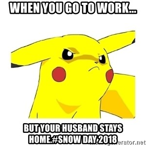 Pikachu - When you go to work... But your husband stays home.#Snow Day 2018