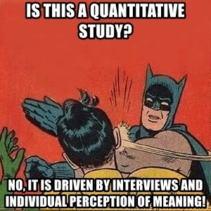 batman slap robin - Is this a quantitative study? No, it is driven by interviews and individual perception of meaning!