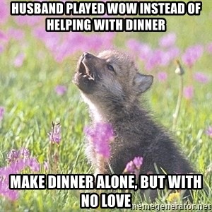 Baby Insanity Wolf - Husband played Wow instead of helping with dinner Make dinner alone, but with no love