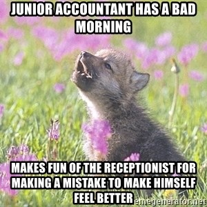 Baby Insanity Wolf - Junior accountant has a bad morning makes fun of the receptionist for making a mistake to make himself feel better