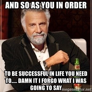 The Most Interesting Man In The World - and so as you in order  to be successful in life you need to..... DAMn it i forgo what i was going to say