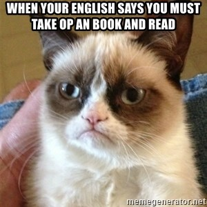 Grumpy Cat  - when your english Says you must take op an book and read