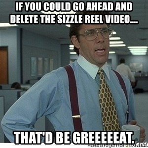 That would be great - If you could go ahead and delete the Sizzle Reel Video.... That'd be greeeeeat.