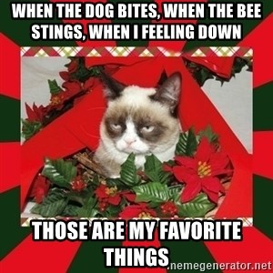 GRUMPY CAT ON CHRISTMAS - when the dog bites, when the bee stings, when i feeling down those are my favorite things
