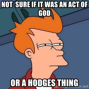 Futurama Fry - Not  sure if it was an act of God Or a HODGES thing