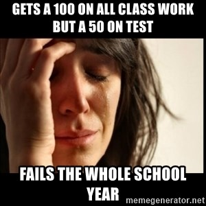 First World Problems - gets a 100 on all class work but a 50 on test fails the whole school year
