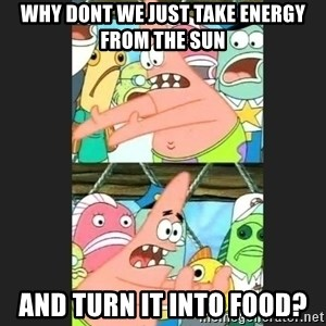 Pushing Patrick - why dont we just take energy from the sun and turn it into food?