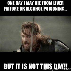 But it is not this Day ARAGORN - One day I may die from liver failure or alcohol poisoning... But it is not this day!!