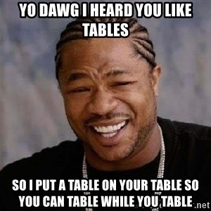 Yo Dawg - Yo dawg I heard you like tables So I put a table on your table so you can table while you table