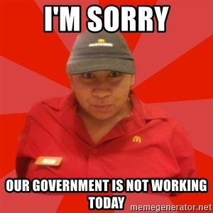 McDonald's Employee - I'm sorry Our government is not working today