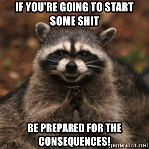 evil raccoon - If you're going to start some Shit Be prepared for the consequences!