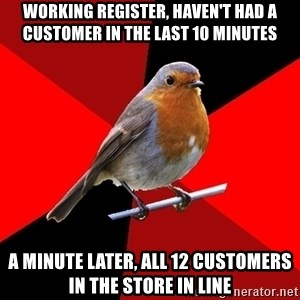 Retail Robin - Working register, haven't had a customer in the last 10 minutes A minute later, all 12 customers in the store in line