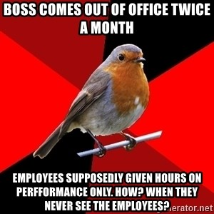 Retail Robin - Boss comes out of office twice a month  Employees supposedly given hours on perfformance only. How? When they never see the employees?
