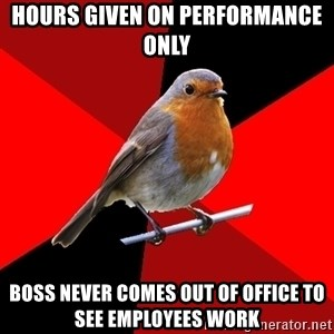 Retail Robin - Hours given on performance only Boss never comes out of office to see employees work
