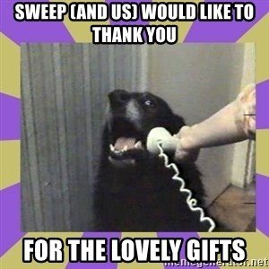 Yes, this is dog! - Sweep (and us) would like to thank you  for the lovely gifts