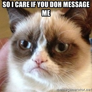 Angry Cat Meme - so i care if you doh message me