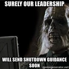 OP will surely deliver skeleton - surely our leadership will send shutdown guidance soon