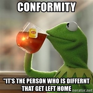 "Kermit The Frog Drinking Tea - Conformity ""It's the Person Who Is Differnt That Get Left Home"