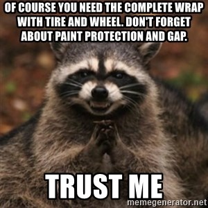 evil raccoon - of course you need the complete wrap with tire and wheel. don't forget about paint protection and GAP. trust me