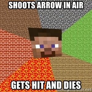 Minecraft Guy - Shoots arrow in air Gets hit and dies
