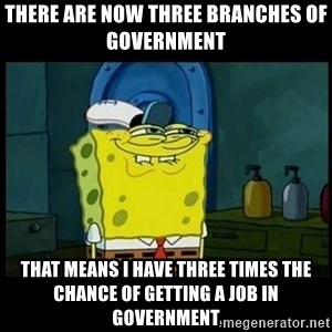 Don't you, Squidward? - There are now three branches of government  That means I have three times the chance of getting a job in government