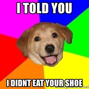 Advice Dog - i told you  i didnt eat your shoe