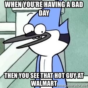The WTF Mordecai - When you're having a bad day  Then you see that hot guy at Walmart