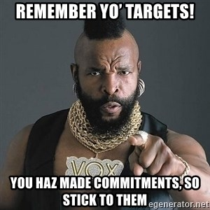 Mr T - Remember yo' targets! You haz made commitments, so stick to them