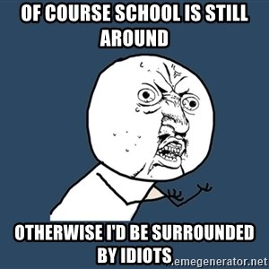 Y U No - of course school is still around otherwise i'd be surrounded by idiots