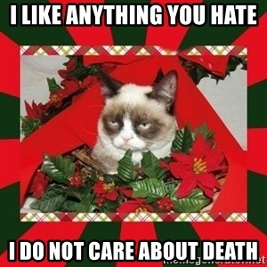 GRUMPY CAT ON CHRISTMAS - I like anything you hate I do not care about death