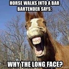 Horse - Horse walks into a bar bartender says:  Why the long face?