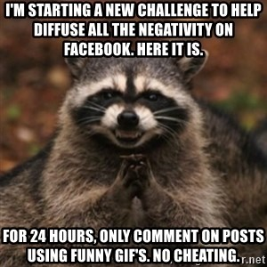 evil raccoon - I'm starting a new challenge to help diffuse all the negativity on Facebook. Here it is. For 24 hours, only comment on posts using funny GIF's. No cheating.