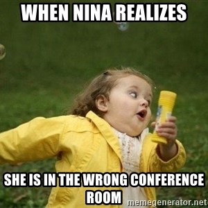 Little girl running away - When Nina realizes she is in the wrong conference room